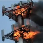 cell tower afire w two layers of antennas